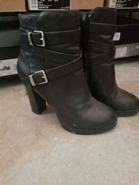 pair of black leather side-zip booties Winnipeg, R3J