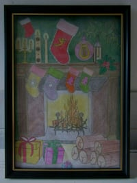 A4 CHRISTMAS EVE PENCIL COLOUR WALL ART IN FRAME  London