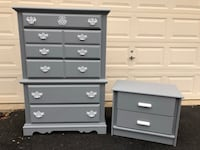 Lehigh Furniture 5 Drawer Tallboy Dresser With Nightstand Gray With White Handles  Manassas, 20112