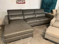 Beautiful Charcoal Gray Leather Sofa With Chaise Jacksonville, 32218