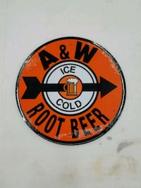 A&W rootbeer root beer soda logo round metal sign  Vancouver, 98685