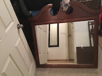 Square mirror with brown wooden frame Saanich