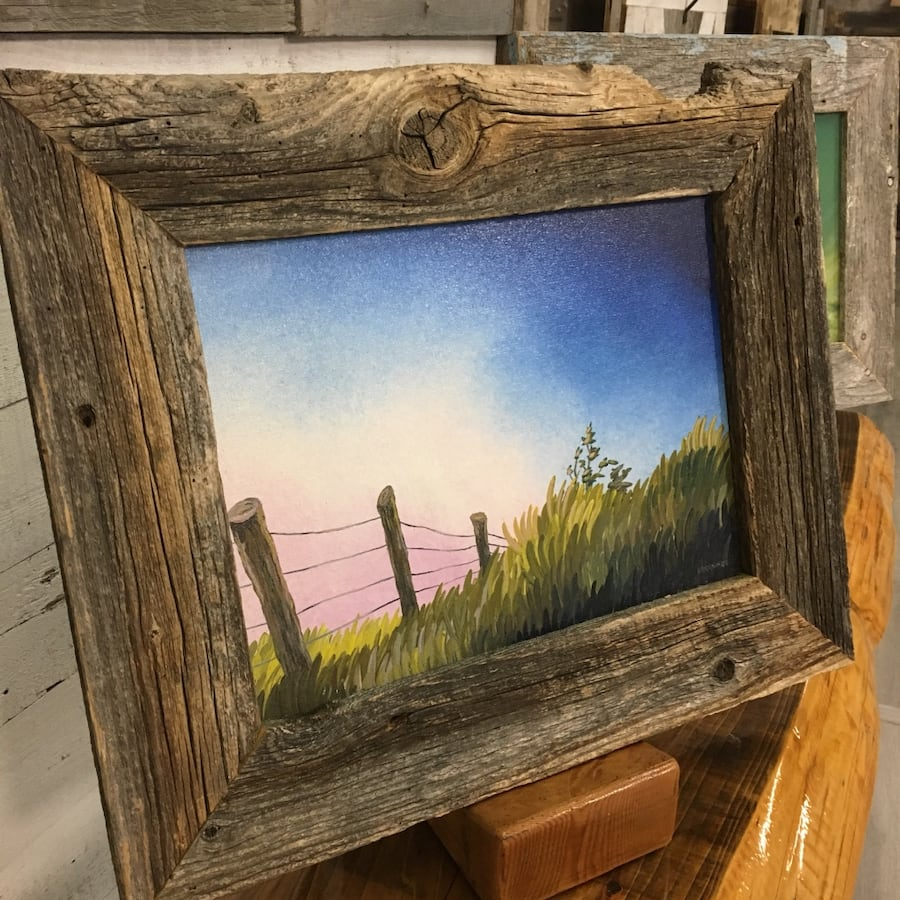 "The Meadow 12"" x 16"" Acrylic on Canvas- Framed in barnwood"