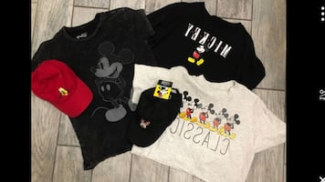 3 Mickey women's top, Minnie hat and goofy hat