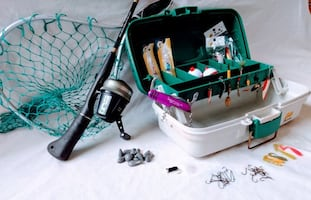 Great Fishing Outfit For A Beginner/Intermediate Angler - Rod, Reel, Landing Net, well stocked Tackle Box