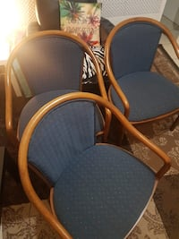 two brown wooden framed gray padded chairs Toronto, M9V 4J4