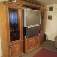 brown wooden TV hutch with CRT television Nashville, 37208