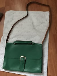 Green leather crossbody bag with silver chain link Edmonton, T5N 3S1