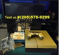 Sony Black Gold ps4 console with controllers. Los Angeles, 90001