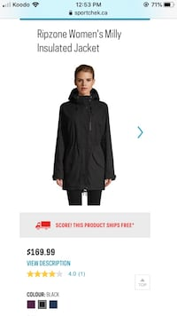 RIPZONE Women's Milly Insulated Jacket - Size S/P Brampton, L6P 1V2