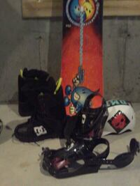 black and red snowboard with bindings Lloydminster, T9V 3H7