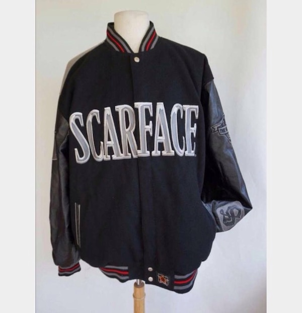 Used Black And Grey Scarface Leather Jacket For Sale In New York