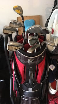 black and red golf bag with golf clubs Maple Ridge, V4R