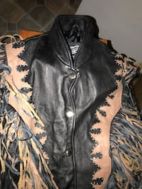 Black and brown fringed leather button-up jacket