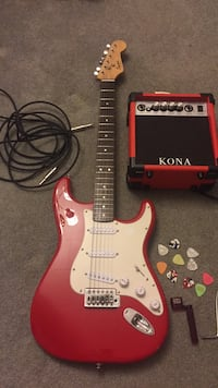 "Fender squier bullet strat ""red"" with amp Poca, 25159"