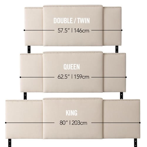 Beige CorLiving 3-in-1 Expandable Panel Headboard, Padded Fabric