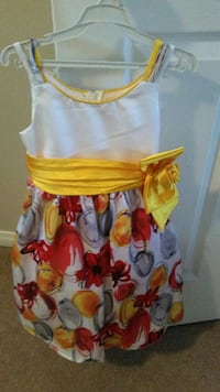 toddler's white and red spaghetti strap dress