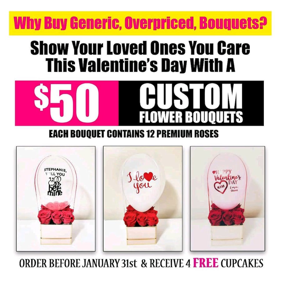 Valentines Day Custom Flower Bouquet Packages