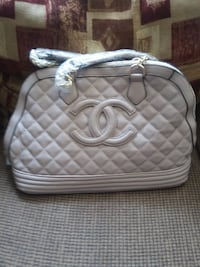 white and gray leather handbag RICHMOND