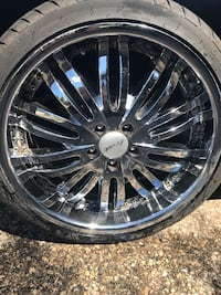 "20"" chrome rims with almost brand new rubber"