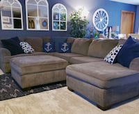 Gray Ashley sectional with chase and ottoman  Hurricane, 25526