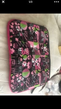 Pink and black floral lap top carrying case