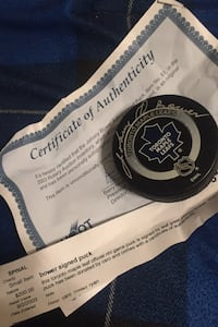 Johnny Bower Autographed puck Aurora, L4G 7J5