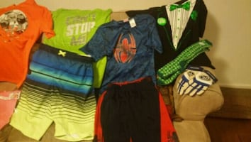 spiderman outfit and st Patrick shirt with socks only