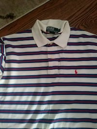 white and red stripes Ralph Lauren polo shirt