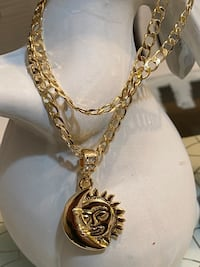 Gold Plated Moon And Sun Pendant With Chain Necklace