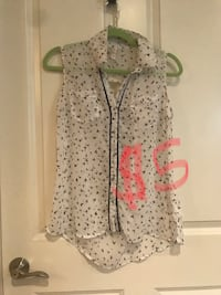 White sheer tank top, black birds, button up (small) Nicholasville, 40356