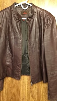 brown leather zip-up jacket Leamington