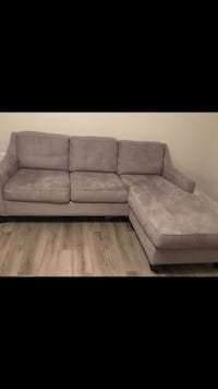 Grey Suede Sectional Couch  900 mi
