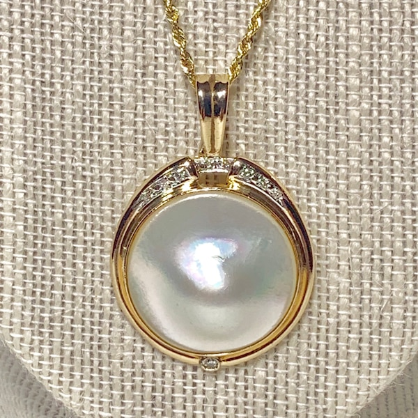 Genuine 14k Gold Blister Pearl Diamond Pendant with 14k Rope Chain 7