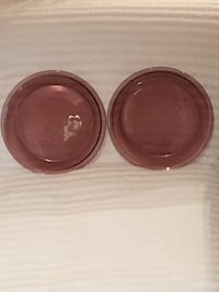 2 Vintage Pyrex Cranberry Glass Pie Pans—Gorgeous!