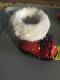 toddler's unpaired white and red fur boot Calgary, T3M 1S7