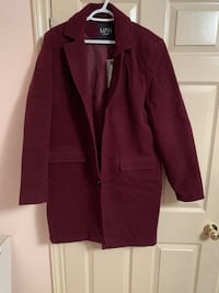 Single Breasted Wool Mix Overcoat - Burgundy  Toronto, M1H 1R4