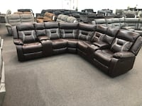 New Reclining Sectional. Brown Gel Leatherette. Delivery included! Cerritos