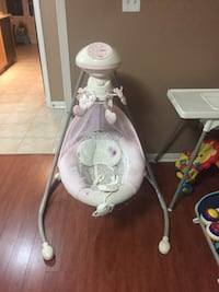 White and pink cradle n swing Mississauga, L5B 0B5