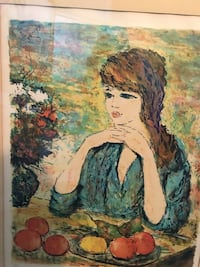 Lovely oil painting -framed -Authentication on back side of painting. Thompson, 44086