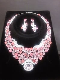 Pink and silver stone neck piece Phoenix, 85043