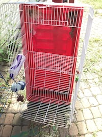 Red and white pet cage Toronto, M9L 1X8