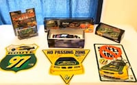 Vintage collectible race cars and signs