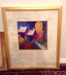 """GOLD framed painting/print beautiful red purple blue 22"""" by 26"""""""