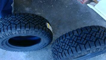 Two 265/65R17 Goodyear Wrangler Duratrac tires