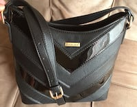 black and gray leather crossbody bag Montreal