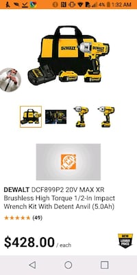 DeWalt cordless hand drill set impact wrench Kitchener, N2B 2P8