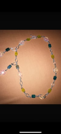 Jade green and ópalo  gem  silver necklace