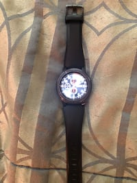 Round silver chronograph watch with black leather strap Bowie, 20721