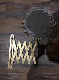 Gold extendable vanity mirror wall mounted